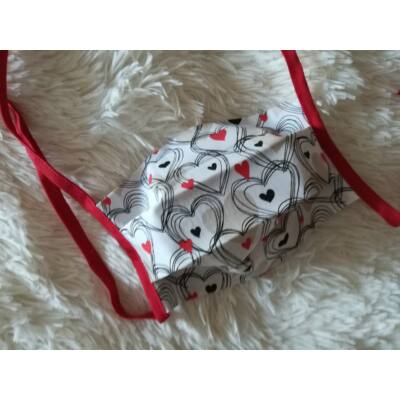 Textil mosható arcmaszk - szívecskés