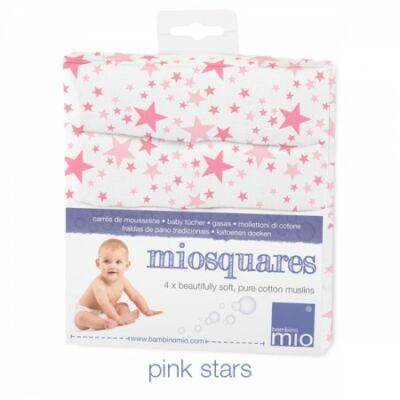 Bambino Mio muszlin tetra pelenka, textilpelenka 4 darabos (rózsaszín csillagos)