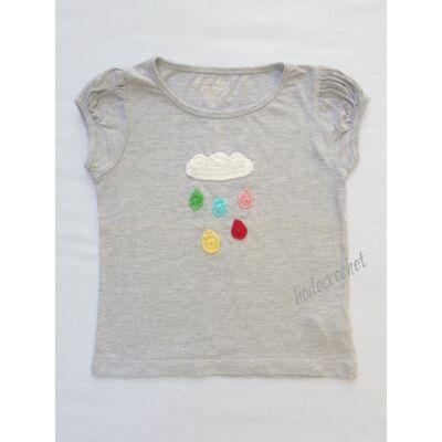 Szürke gyermek póló horgolt felhő-esőcsepp díszítéssel választható méretben