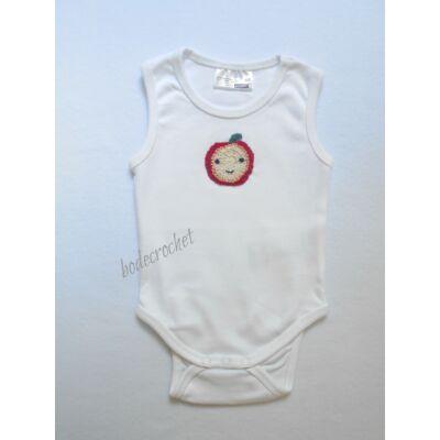 Fehér gyermek body horgolt alma díszítéssel 68-as