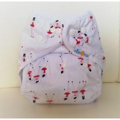 Manóca  dekorvásznas egyméretes mosható pelenka külső (5-15 kg) balerinás