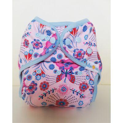 Manóca dekorvásznas egyméretes mosható pelenka külső (5-15 kg) flamencica