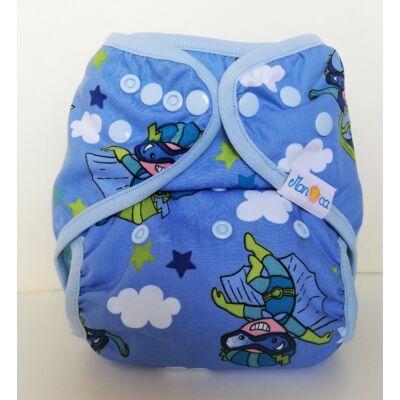 Manóca dekorvásznas egyméretes mosható pelenka külső (5-15 kg) kék szuperhős