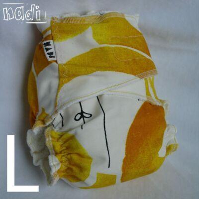 Nadi L-es dekor vásznas mosható pelenka belső (11-16 kg) fehér-sárga virágos