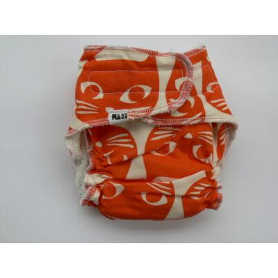 Nadi M-es dekor vásznas mosható pelenka belső (7-13 kg) narancs cicás