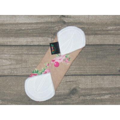 Norka női mosható tisztasági  betét  PUL-al 20 cm-es (virágos pink patentos)