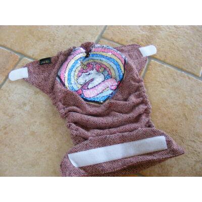 Norka dupla rétegű egyméretes gyapjúszövet pelenka külső (unikornisos tépőzáras)