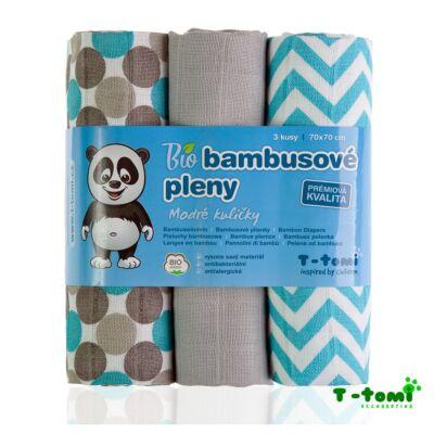 Bambusz/BIO pamut tetra pelenka, textilpelenka 3 darabos csomag (kék)
