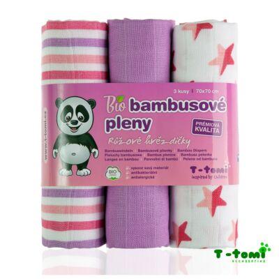 Bambusz/BIO pamut tetra pelenka, textilpelenka 3 darabos csomag (rózsaszín)