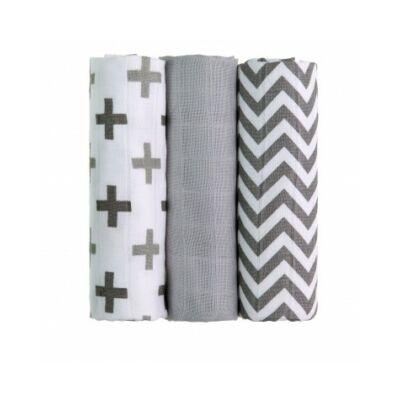 Bambusz/BIO pamut tetra pelenka, textilpelenka 3 darabos csomag (szürke)