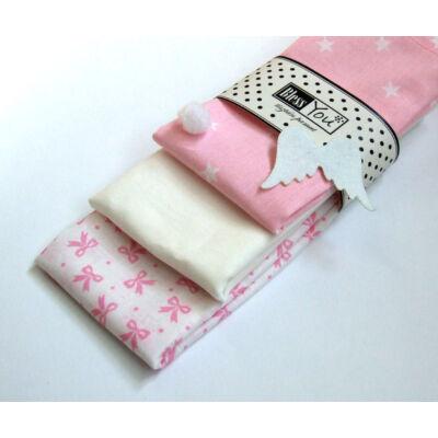 BlessYou 100% pamut textil zsebkendő gyerekeknek (rózsaszín csillagok és masnik )