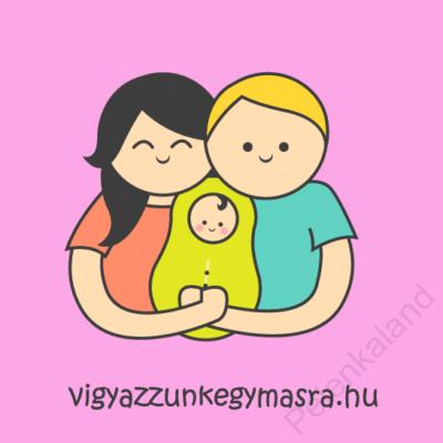 Autómágnes - család 1 gyerekkel rózsaszín (kicsi)