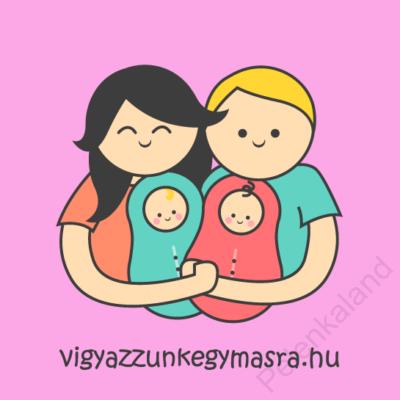 Autómágnes - család 2 gyerekkel rózsaszín