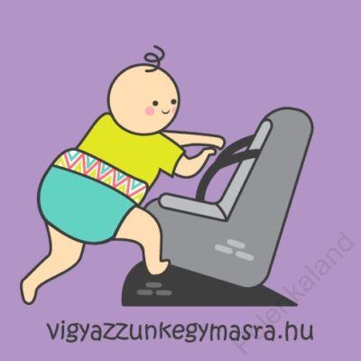 Autómágnes - mászó baba lila