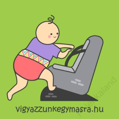 Autómágnes - mászó baba zöld